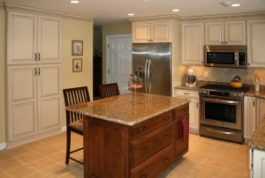 building kitchen island with wall cabinets
