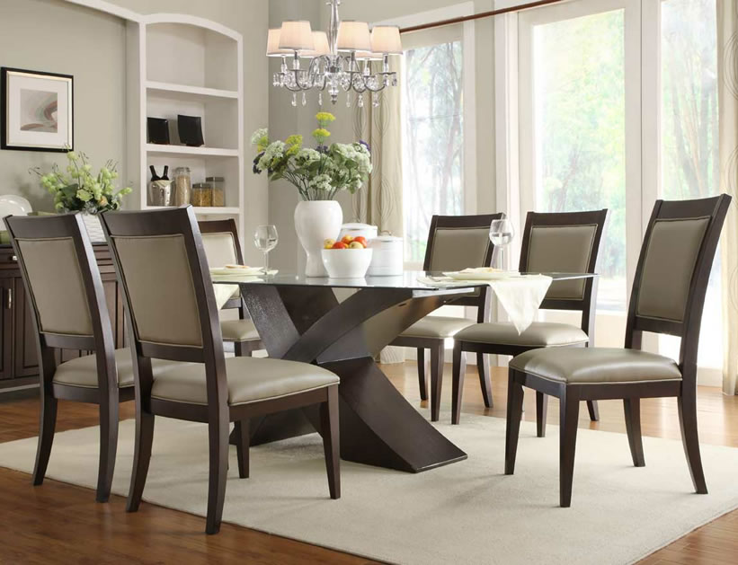 dining room sets glass table tops Modern Kitchen Furniture
