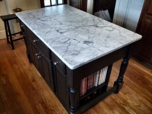 french kitchen island marble top