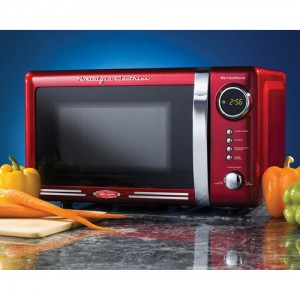 red retro microwave oven