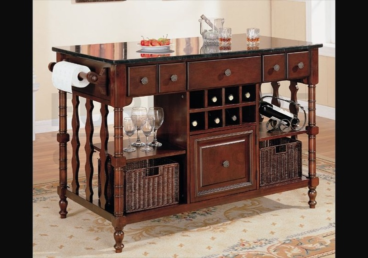 Rolling Kitchen Island Marble Top