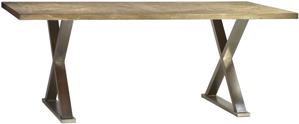 Wood Stainless Steel Dining Table