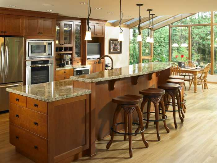Wooden Kitchen Island With Seating