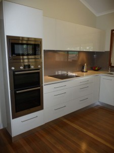 Beautiful and stylish a counter microwave with a trim kit to make it look like a built-in over the wall oven photo