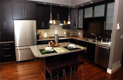 Dark cabinets, frosted glass