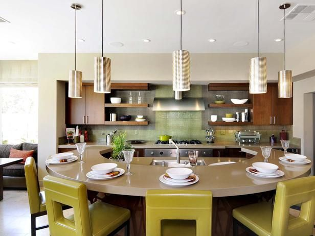 Round Counter Bar with Pendant Lighting kitchen ideas for small kitchens