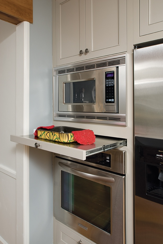 The newest microwave ovens are under-counter models that free up counter space and make it possible to have a real vent hood over the stove photo