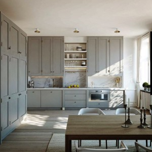 White small Kitchens Classic White Marble Countertop Normally this is not a style that I would be drawn to but the use of space is fantastic and the color quite calming