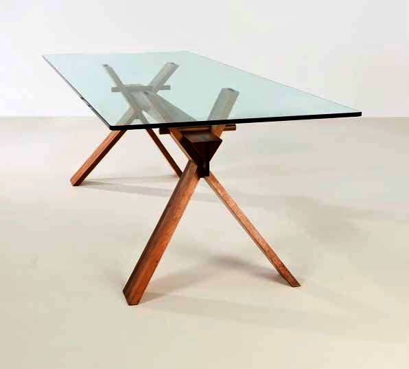 Contemporary Square Folding Table With Glass