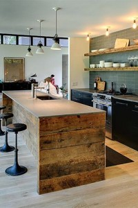 Kitchen Island with wooden countertop photo