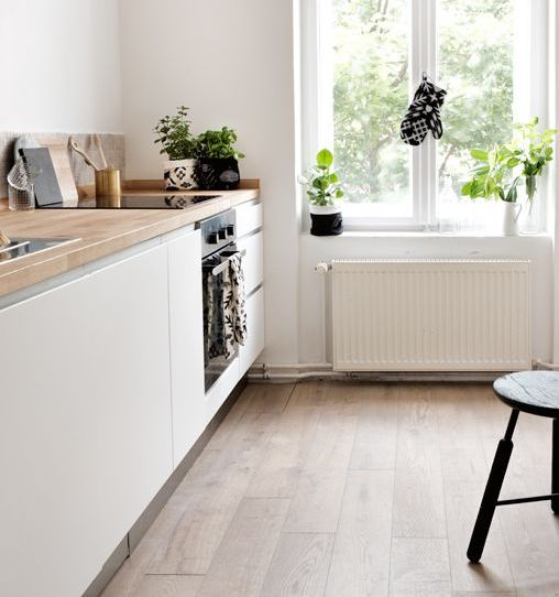design of the kitchen in white color without upper cabinets - Kitchen Without Upper Cabinets