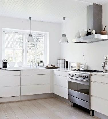 Design Of The Modern White Kitchen Without Upper Cabinets