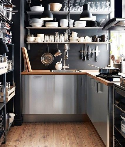 modern small corner kitchen design. space-saving ideas. extremely