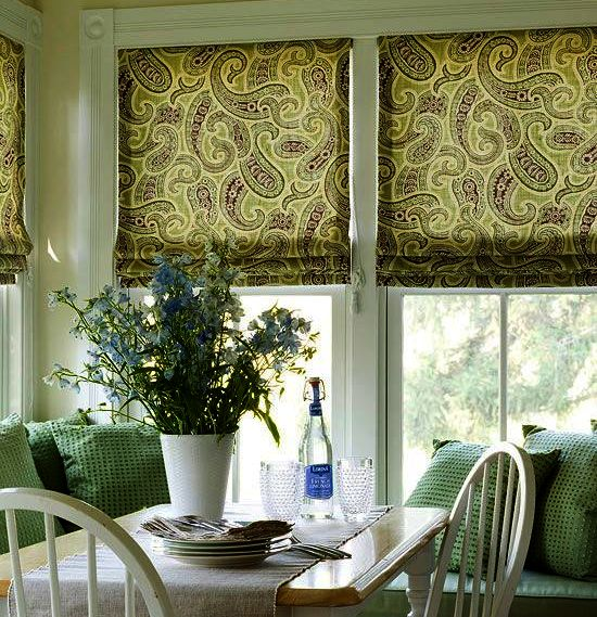 Green Roman Shades For The Kitchen