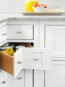 kitchen corner cabinet with white shelves